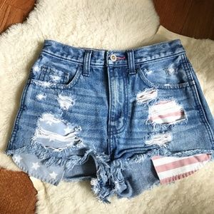 Hollister High Waisted American Flag Shorts | 00